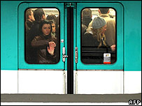 Commuters pack a subway train at Les Halles, Paris