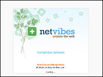Screengrab of netvibes.com home page