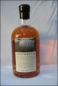 A bottle of Shipwreck cider brandy