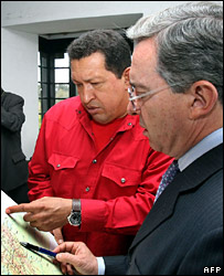 Hugo Chavez and Alvaro Uribe meet in Colombia