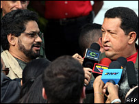 Farc representative Ivan Marquez and Hugo Chavez meet in Caracas