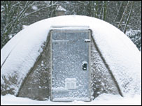 Concrete canvas shelter in snow