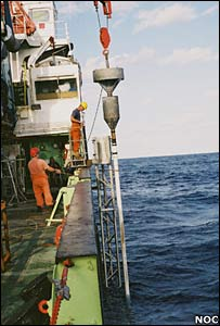 Coring off the coast of Africa. Image: National Oceanography Centre, Southampton.