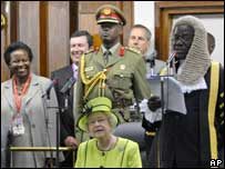 The Queen at the Ugandan parliament