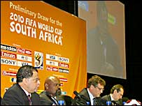 Danny Jordaan and others at the media briefing ahead of Sunday World Cup draw