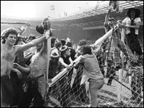 Scots supporters invade the Wembley pitch in the home international in 1977