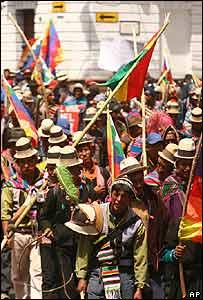 Manifestantes en Sucre