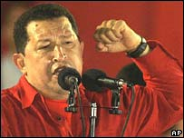 Venezuela's Hugo Chavez at an unrelated rally in Caracas on Wednesday