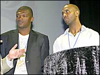 2010 World Cup Ambassadors Marcel Desailly and Lucas Radebe