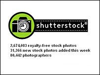 Screengrab of Shutterstock.com website