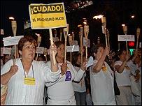 Manifestaci�n en Chile para rechazar la violencia contra las mujeres