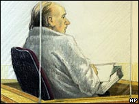 Artist's impression of Robert Pickton listens to closing arguments on 19 November
