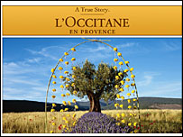 A screengrab from the Occitane website