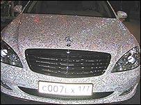A Mercedes car coated in Swarovski diamonds