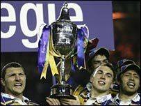 Leeds Rhinos players with the trophy in 2005