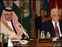 Saudi Foreign Minister Prince Saud al-Faisal and Palestinian Authority President Mahmoud Abbas in Cairo