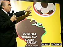 Fifa President Sepp Blatter unveils the official 2010 World Cup poster