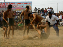 A tackle being made in a kabaddi match