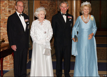The Duke of Edinburgh (left), the Queen (centre left), the Prince of Wales (centre right) and Camilla the Duchess of Cornwall (right)