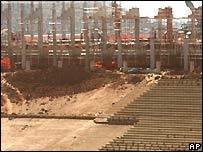 Construction work has begun on the Soccer City stadium in Johannesburg
