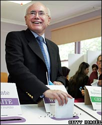 John Howard casts his vote in Sydney