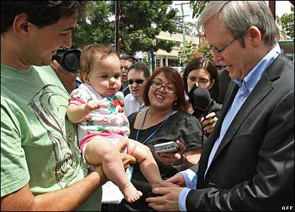 Kevin Rudd at a polling booth in Brisbane, 24 Nov 2007