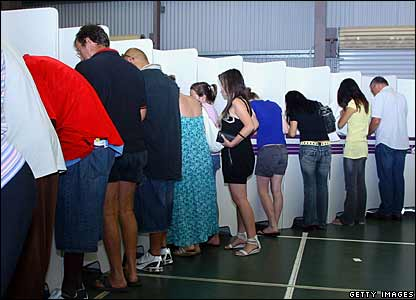 Voters at Algester Primary School in Oxley, ACT, 24 Nov 2007