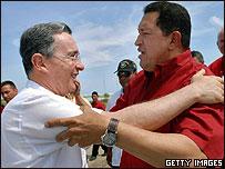 Presidente de Colombia, Álvaro Uribe y de Venezuela, Hugo Chávez