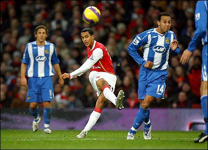 Arsenal's Theo Walcott attempts a shot at goal