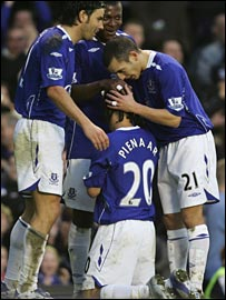 Steven Pienaar is congratulated after scoring Everton's  third