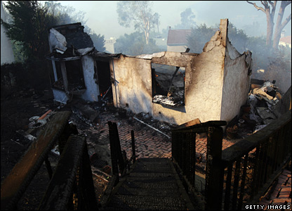 A burnt-out home, in Corral County, Malibu, destroyed by the fires