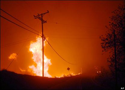 A telegraph pole in Malibu catches fire
