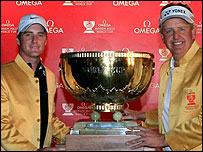 Marc Warren (L) and Colin Montgomerie
