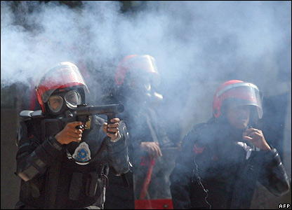 Police fire tear gas canisters