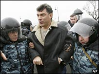 Police officers detain Boris Nemtsov in St Petersburg, 25-11-07