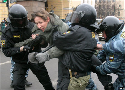 A demonstrator being arrested