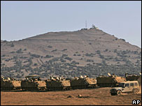 File photo of Israeli vehicles during a training exercise in the Golan Heights