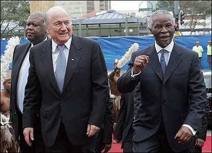 Fifa president Sepp Blatter arrives in Durban with South Africa's president Thabo Mbeki