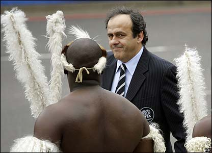 Uefa president Michel Platini arrives in Durban