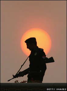 A Pakistani policeman stands guard at Lahore airport