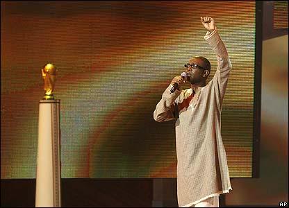 Singer Youssou N'Dour entertains the assembled guests