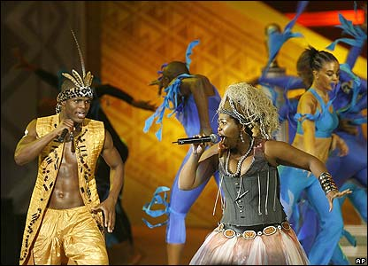 Performers provide entertainment from the Lion King musical