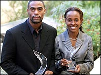 Tyson Gay (left) and Meseret Defar pose with their trophies