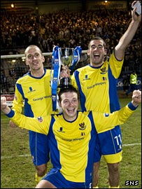 Saints goalscorers Paul Sheerin, Kenny Deuchar and Paul MacDonald