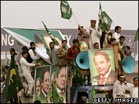 Supporters of Nawaz Sharif arrive at Lahore airport, 25 November 2007