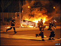 Burning car, set on fire by Parisian rioters
