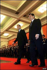 Nicolas Sarkozy and Hu Jintao