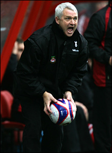 New Wrexham manager Brian Little shows his anger in his first game in charge as the Dragons twice fall behind