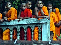 Novice monks often catch some of the action at Kandy