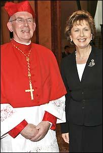 Irish President  Mary McAleese with Cardinal Sean Brady